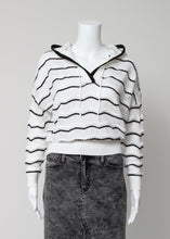 Load image into Gallery viewer, pointelle stripe hoodie sweater