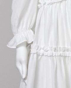 white long sleeve frill trim dress