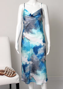 watercolor midi slip dress