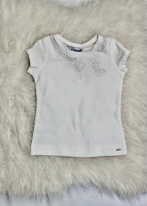 girls short sleeve bow tee