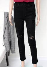 Load image into Gallery viewer, distressed skinny jean black