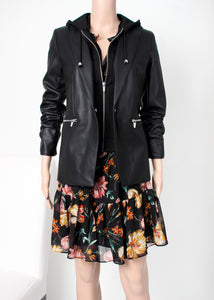 faux leather hoodie blazer and dress