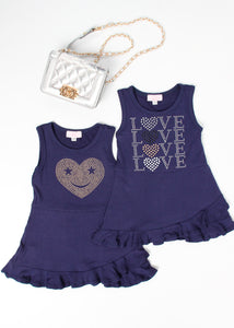 girls jersey ruffle tank dress love and heart