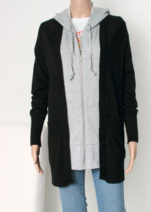 long layered hoodie cardigan