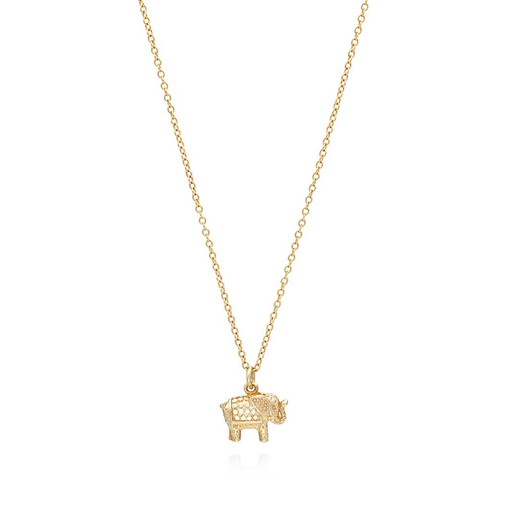 Small Elephant Charm Necklace - Gold