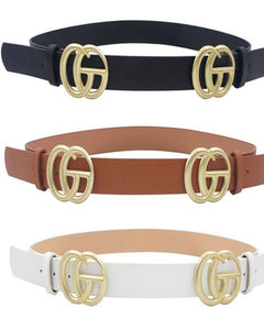 Double buckle ring belt