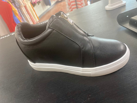 Black leather hidden wedge sneakers