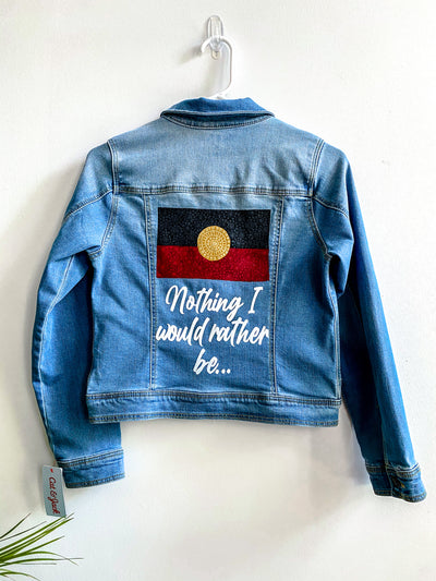 "Hand painted kids jacket- ""Nothing I would rather be"""