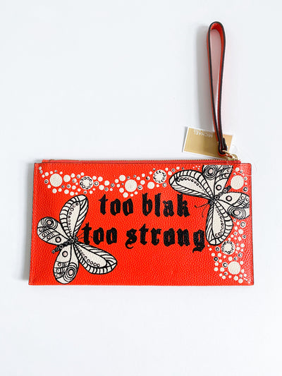 Orange hand-painted clutch