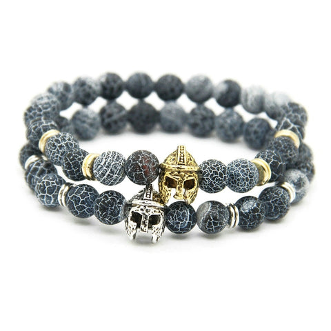 Sparta Bracelet - Men's Fashion Bracelet with Gladiator Helmet Bead - Vizfe