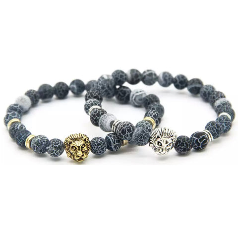 Lion King - Mens Fashion Onyx Bead Stones Stainless Steel - Vizfe