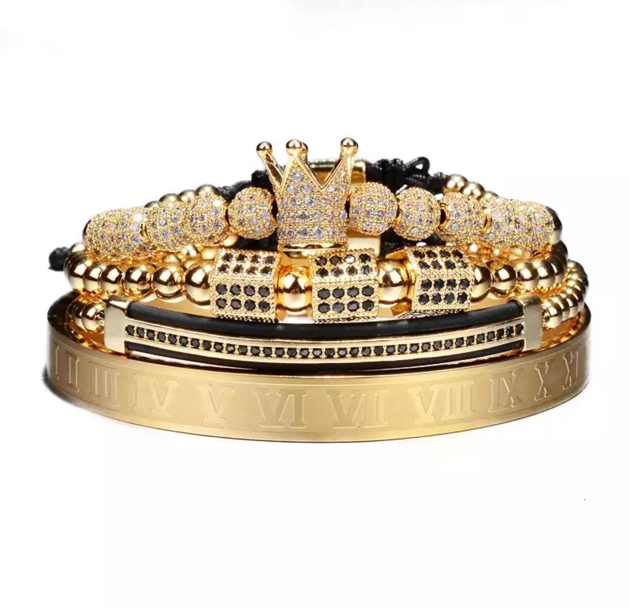 King Charm Set - Men's Fashion Bracelet with Crown (4 bracelets set included) - Vizfe