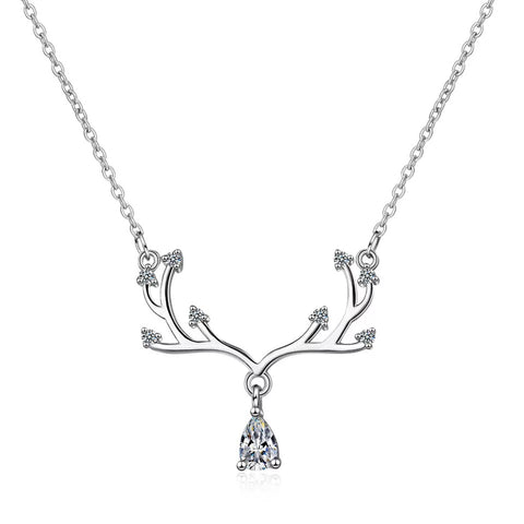 Cubic Zirconia Elk Deer Necklace - 925 Sterling Silver Shine Jewellery - Vizfe