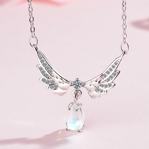Angel Wings Ladies Necklace - 925 Sterling Silver Shiny Crystal