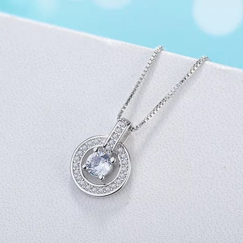 Round Woman's Necklace - 925 Sterling Silver Shine Cubic Zirconia - Vizfe