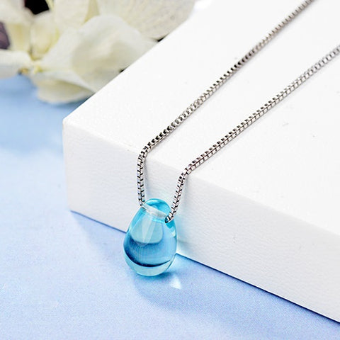 Blue Water Drop Necklace - 925 Sterling Silver Crystal