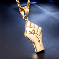 "Power Fist - 18K Gold Plated 18"" Necklace"