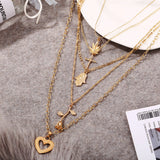 Multi Layer Gold Heart Pendant Necklace