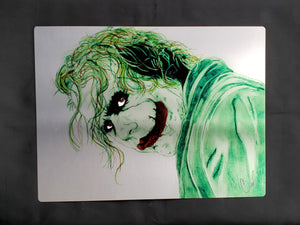 Joker Heath Ledger Hand Colored LIMITED Metal Art Print