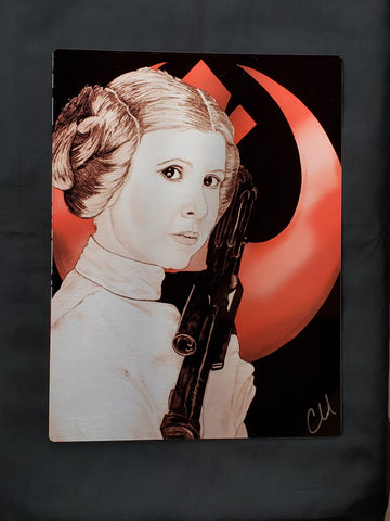 Princess Leia Star Wars Colored Metal Art Print