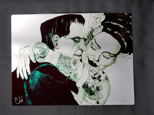 Frankenstein and Bride of Frankenstein Metal Art Print
