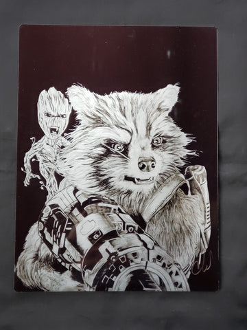 Rocket Raccoon and Groot Metal Art Print