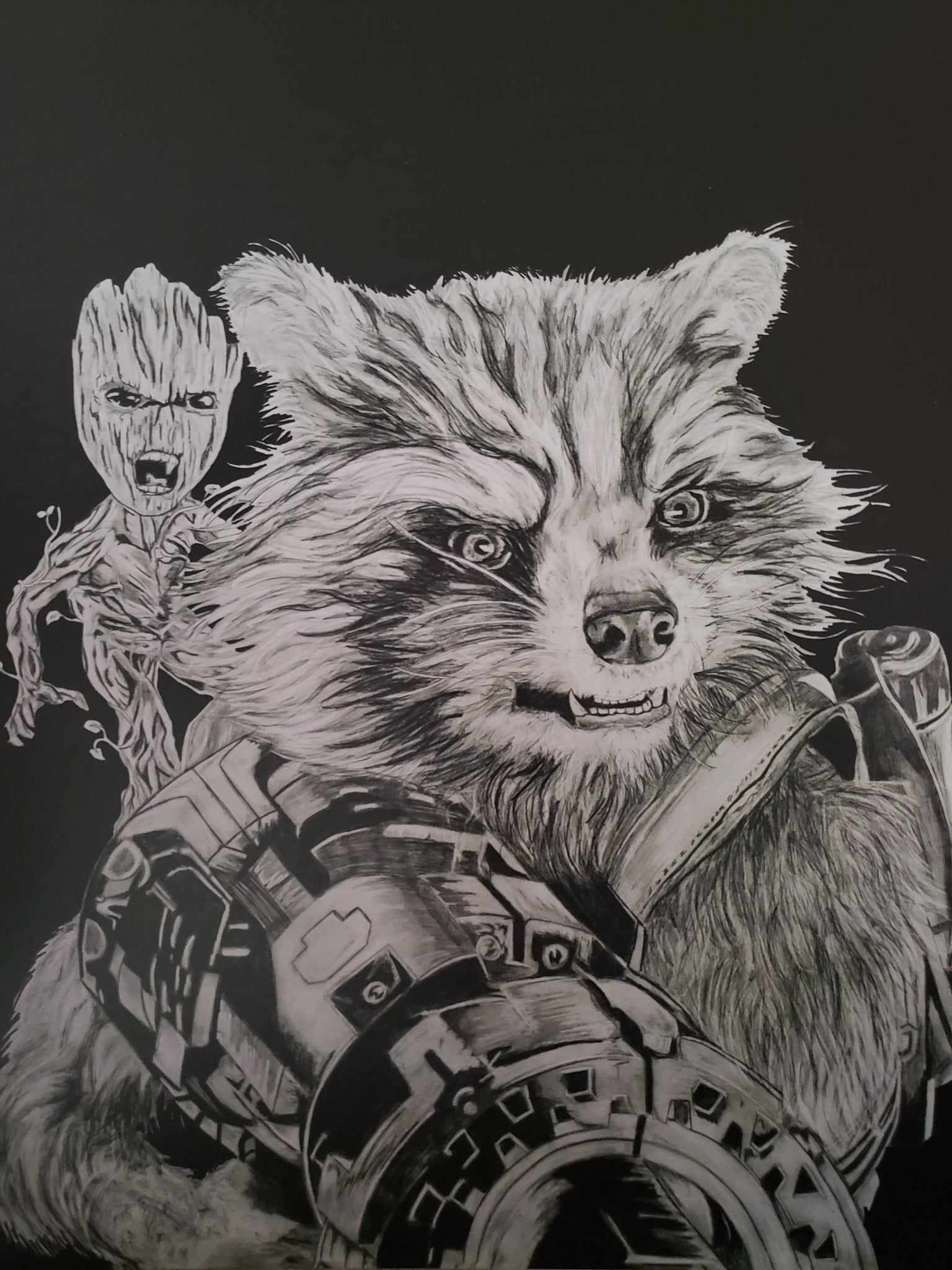 Rocket Racoon and Groot 13x16 Print