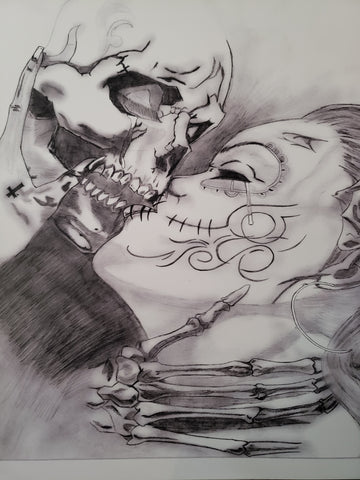 Horror Girl & Skeleton 11x17 Print