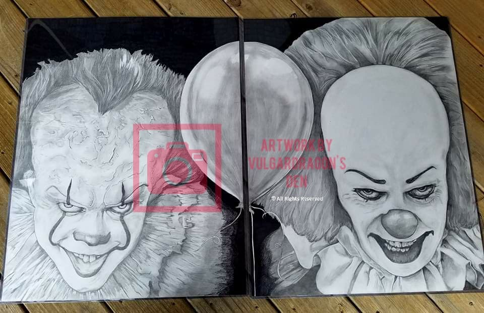 Pennywise Original Drawing Autographed Tim Curry