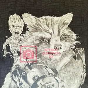 Rocket Racoon & Groot  Original Drawing