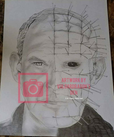Autographed Clive Barker's Hellraiser Pinhead Original Drawing