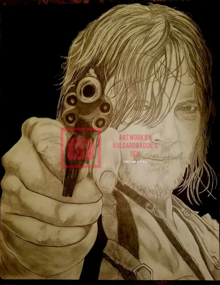 Norman Reedus Daryl Walking Dead Original Drawing
