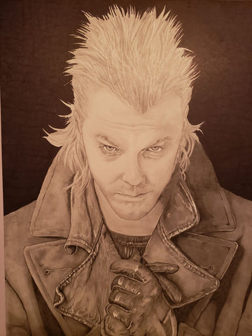 Autographed Lost Boys David Kiefer Sutherland Original Drawing