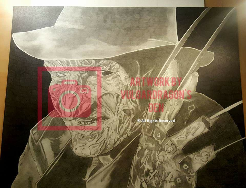 Autographed Robert England Freddy Kreuger Original Drawing
