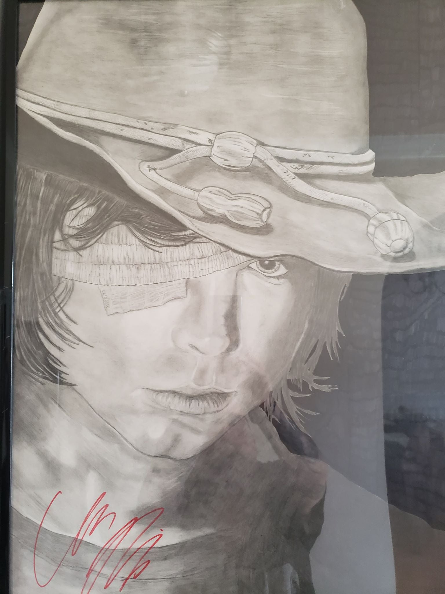 Autographed Chandler Riggs Carl Grimes Walking Dead Original Drawing