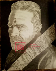 Autographed Jeffrey Dean Morgan Negan Walking Dead Original Drawing