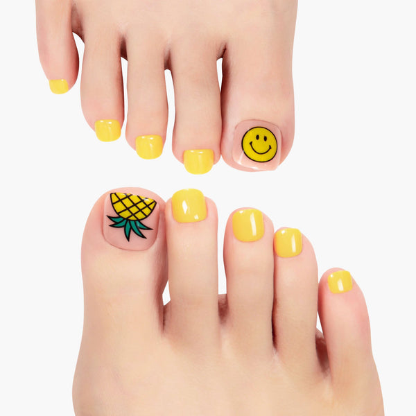 alldashing Fun And Tropical press on nails pedicure