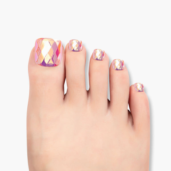 alldashing Mermaid Gem press on nails pedicure