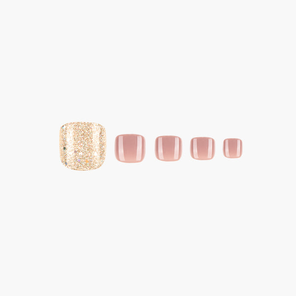 alldashing Nude Sparkling press on nails pedicure