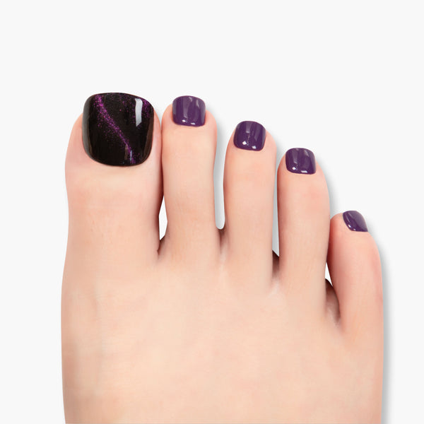 alldashing Royal Purple press on nails pedicure