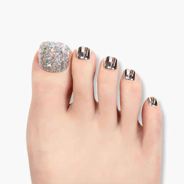 alldashing Sparkles Galore press on nails pedicure