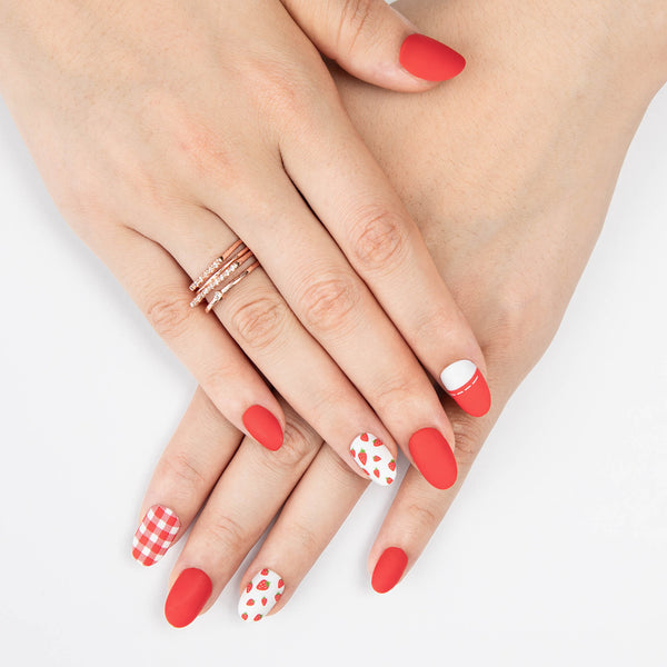alldashing Summery Strawberry prensa en las uñas