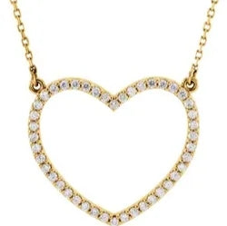 "14K Yellow Diamond Heart 16"" Necklace"