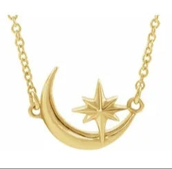 "Crescent Moon & Star 16-18"" Necklace"