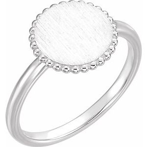 Engravable Beaded Circle Ring