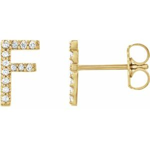 Diamond Single Initial Earring