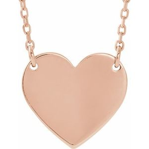 "Engravable 12x11 mm Heart 16-18"" Necklace"