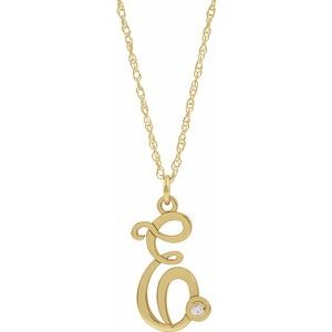"Diamond Script Initial 16-18"" Necklace"