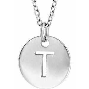 "14K Initial 10 mm Disc Initial Pendant or Disc Initial Necklace 16-18"" Necklace"