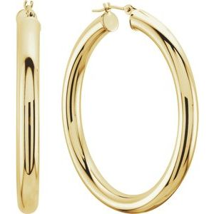 14K Yellow Tube 4mm Hoop Earrings
